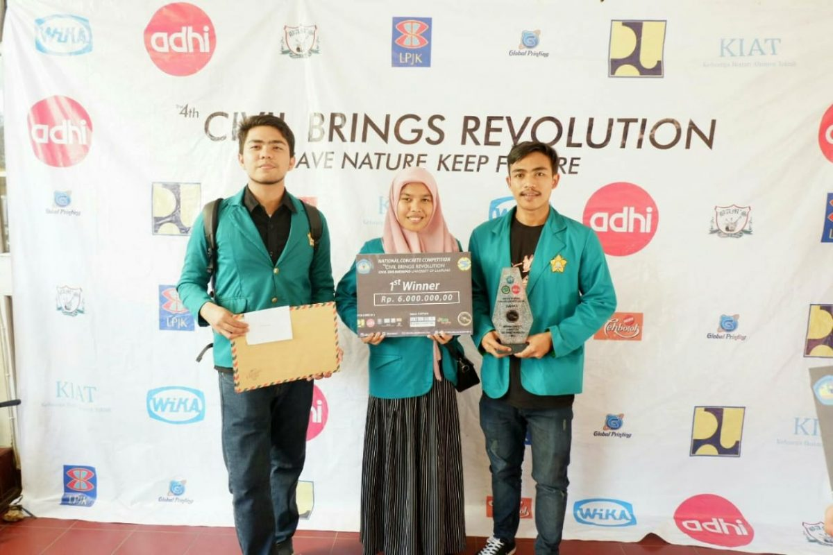 Juara I Inovasi Beton Ramah Lingkungan pada National Concrete Competition Civil Brings Revolution 2018