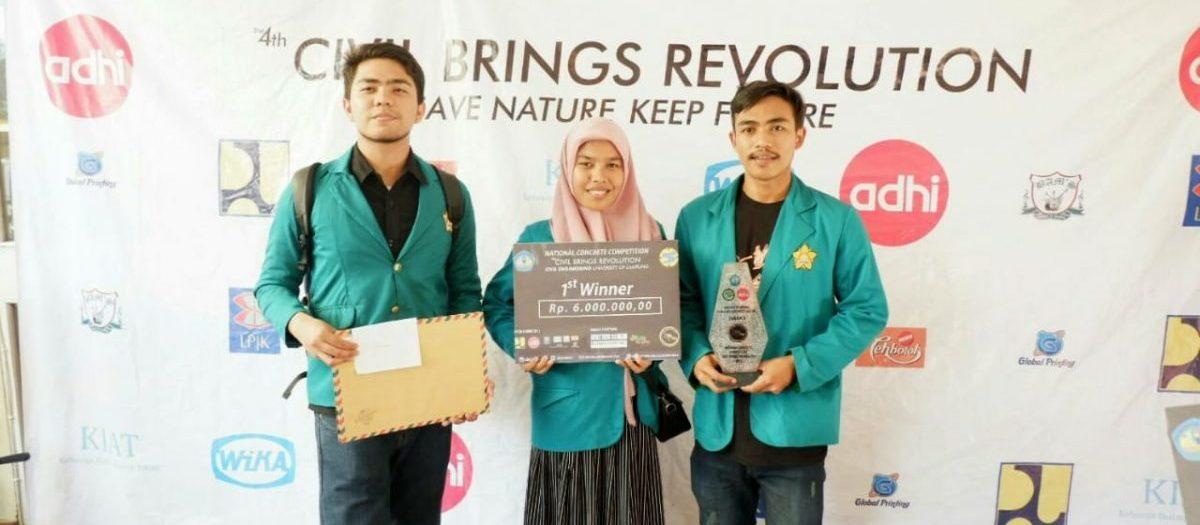 Juara I Inovasi Beton Ramah Lingkungan pada National Concrete Competition Civil Brings Revolution 2018